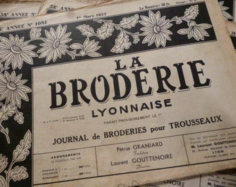 4 French Vintage Embroidery Pattern Magazines.  'La Broderie Lyonnaise.'