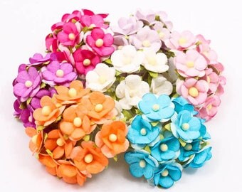 10 Tiny Millinery Paper Flowers, Doll Making, 18mm