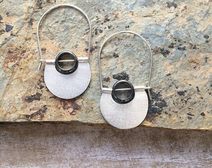 Sterling silver hoop earrings - dangle and drop - contemporary jewelry - half moon - tribal earrings - geometric earrings - hematite stones