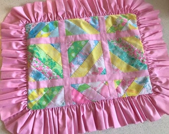 Ruffled vintage patchwork pillow sham