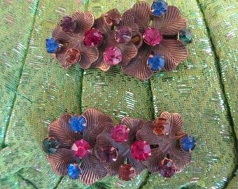 1930's to 1940's dress clip set, coloured diamantes in stylised floral setting, vintage dress clips