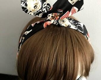 DARKWHISPER Couture Handmade Elegance Alice in the Wonder Land Print Black Headwrap Halloween Party