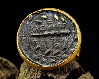 Signet Coin Ring, Handcrafted Artisan Hammered 24K Gold Vermeil 925 Solid Sterling Silver Oxidized, Ancient Roman, Byzantium, Greek Art Ring