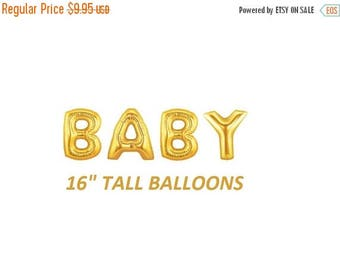 SALE 16 inch BABY letters balloons GOLD for Baby Showers Decorations Foil Mylar Metallic Balloon Air balloon