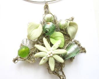Artisan Pendant Murano Foil Beads Choker Necklace with Lime Green Glass Pearls & Porcelain Bisque Flowers on Silver Wire Hand Crafted