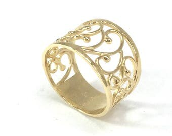 Unique Wedding Ring Lace Gold Plated Wide Band