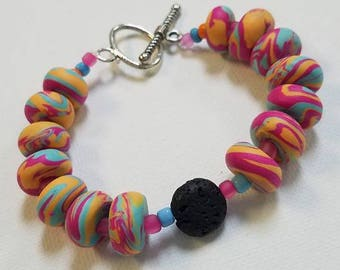 Oil diffusing Polymer Clay Bracelet