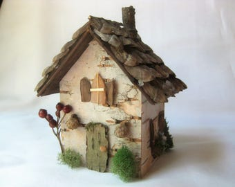 Birch Bark Natural Fairy House with Chimney