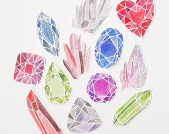 Illustrated Gems & Crystals Sticker Pack