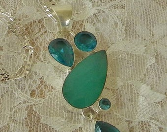 Summer Sale Large Blue Topaz and Aqua Colored Chalcedony Pendant in a Modern Style Setting, .925 Silver Setting and Chain