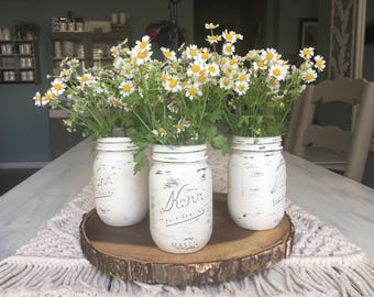 Chalk Painted Mason Jars. Annie Sloan White Chalk Paint. Summer Wedding Decor. Wedding Centerpieces. Shower Centerpieces.