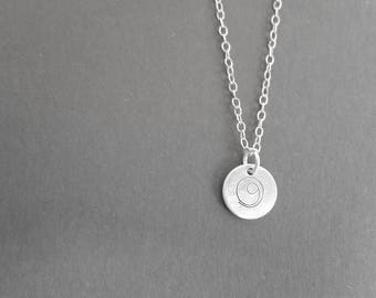 Silver Gratitude necklace, gratitude symbol, minimalist, spiritual, yoga,silver necklace, symbolic jewelry, mindful, thankful, hand stamped