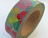 "SALE Tropical Floral Print Washi Tape ""Colorful Hibiscus""  15mm x 10 meters"