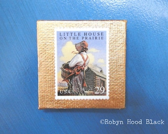 Vintage Postage Stamp Magnet 2 X 2 LITTLE HOUSE on the Prairie
