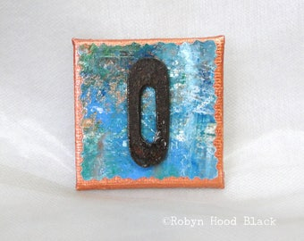 Rustic Letter O and Painted Verdigris Magnet 2 X 2