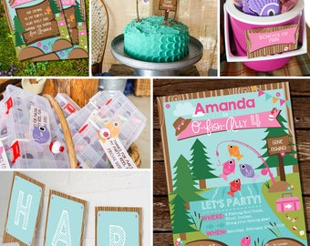 Fishing Party Decorations - Girls Fishing Birthday Party Decor - Gone Fishing Party Decorations - Instant Download - Editable File