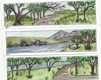 Three Original Handpainted Watercolor Book Markers - Book Mark - Landscape Scenes - Trees - Water - Pathways - Original Art