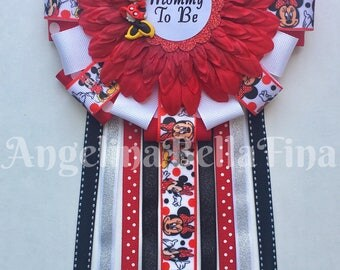 NEW Minnie Mouse Mommy To Be Corsage -red/black/white