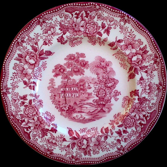 """Red Clarice Cliff Tonquin Side Plate,6 3/8"""", Serving Plate, English Plate, Red Dishes, Floral, Red China Plate, Wall Decor, Wedding Registry"""
