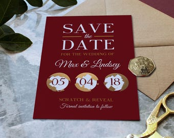Modern Scratch Off Save the Date Cards in either Navy, Olive or Claret options
