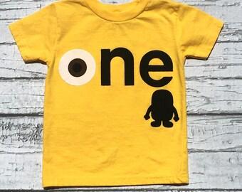 Minions Theme Birthday/ one/Gender Neutral/Shirt/Birthday Shirt/Ready To Ship