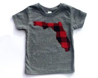 Florida/ State Of Florida/ Shirt/ Buffalo Plaid/ Size 9 Months/READY TO SHIP