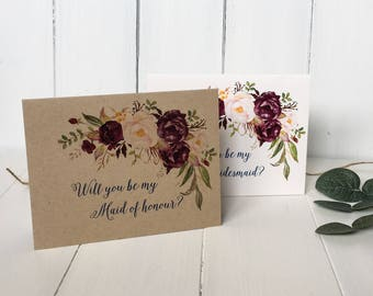 Marsala, Will You be My Bridesmaid Cards, Bridesmaid proposal Card, Custom Bridesmaid cards, Bridesmaid Invitation, Bridesmaid Gift, Floral