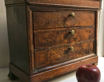 Antique Small Chest Of Drawers Shelf Storage Cabinet 5 Drawer 2 Hidden  Compartments 18th 19th C