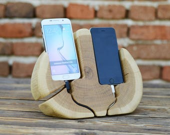 Double phone stand, iPhone station, Samsung Galaxy stand, iPhone 7 dock, Samsung S7 holder, Double phone holder, Home decor, Phone holder