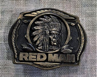 Red Man Limited Edition Brass Buckle 1988 Vintage NEW