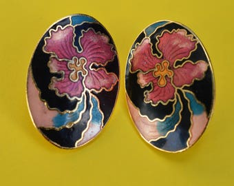 Vintage Enamel Genuine Cloisonne Orchid Flower Earrings 1980s