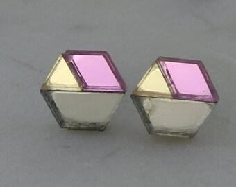 Pink, Gunmetal and Gold Laser Cut Hexagon Geometric Stud Earrings- Gifts for her - Australian Seller