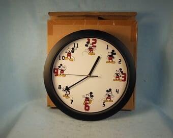 "Vintage-Walt Disney-Mickey Mouse-Wall Clock-11 1/2"" Across-sealed In Original box"