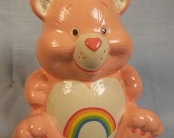 """Vintage-1982- Care Bear-Bank Cheer Bear--TCFC-5"""" Tall-With Stopper"""