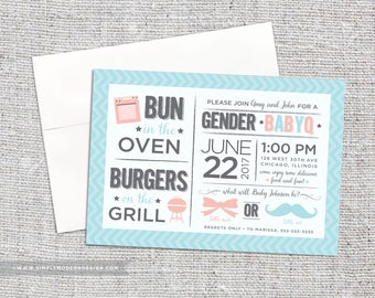 gender reveal party invitation, gender reveal bbq, babyq, barbeque, chevron, boy or girl, pink or blue, PRINTABLE or PRINTED INVITES