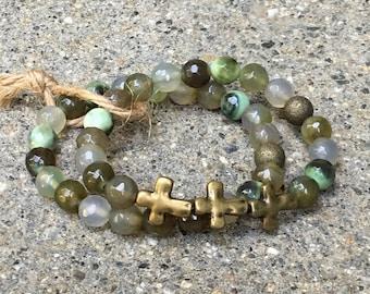 8mm agate gemstones crosses beaded bracelet cross jewelry