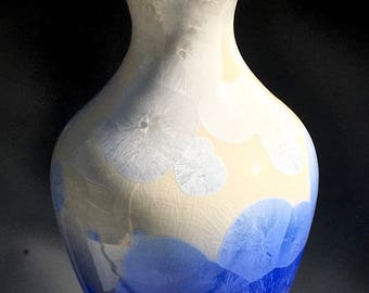 Handmade Ceramic Vase, Crystalline Pottery, Cobalt Blue and White Crystal Glaze on Porcelain, Susan Fontaine Pottery