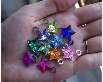 Bright multicolored x 10 Star charm