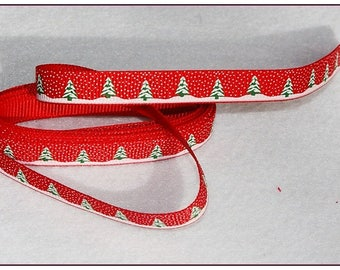 Red Ribbon Christmas tree and snowflake neige10mm 1 meter