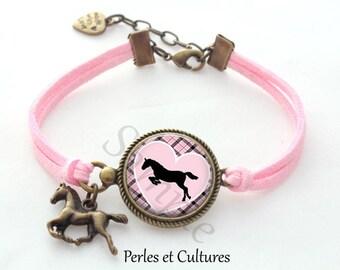 Bracelet cabochon Pink Purple black gingham horse