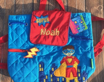 Embroidered Super Hero Backpack, Preschool Backpack, Toddler Backpack, Personalized Backpack, Boys Backpack, Stephen Joseph Backpack for Boy