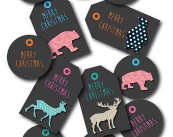 labels digital merry Christmas animals christmas