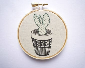 3 inch Hoop Art 'Cactus 11' Modern Embroidery by Cheese Before Bedtime