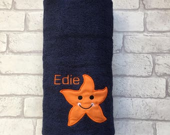 Personalised Star Fish Bath Towel, Personalised Swimming Towel. Fish Beach Towel. Personalised Toddler bath towel. Newborn towel