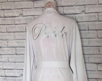 Bride Bathrobe. Bridesmaid dressing gown. Bridal party bathrobes. Personalised Bathrobe. White dressing gown. Cotton Bathrobe
