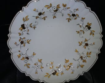 Rare Meissen White Porcelain Plate Raised Floral Design with Gold leaves and Stems in 24kt Gold Trim