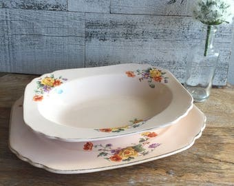 Shell Pink by Royal China Serving Plate and Serving Bowl Set
