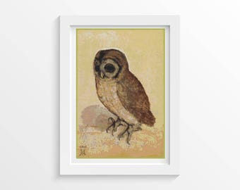 Owl Cross Stitch Chart, The Brown Owl Cross Stitch Pattern PDF, Art Cross Stitch, Albrecht Durer, Embroidery Chart (DURER04)