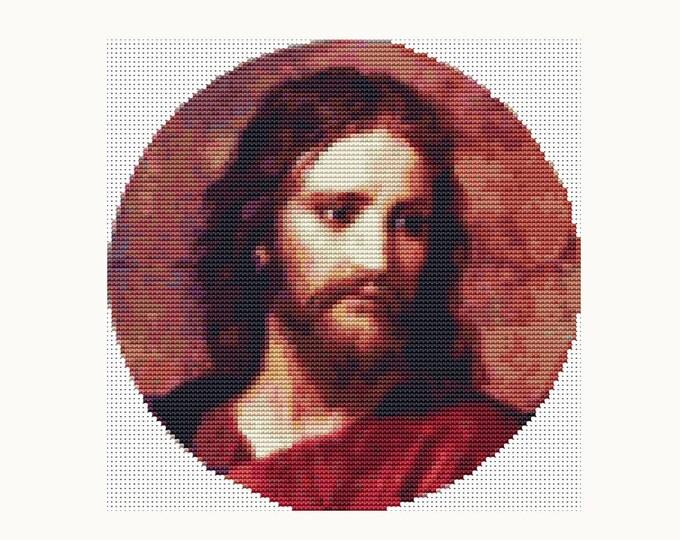 CIRCULAR Cross Stitch Pattern PDF, Embroidery Chart, Art Cross Stitch, Jesus Cross Stitch, Christ at 33 by Heinrich Hofmann (C010)