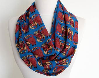 Blue Ethnic Animals Infinity scarf, Circle scarf, Loop scarf, Wide Scarf, Shawls, spring - fall - winter - summer fashion